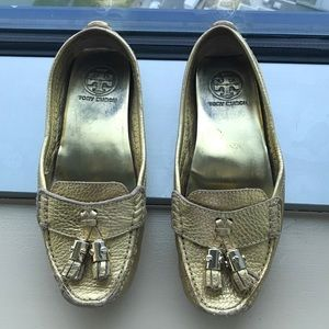 Tory Burch Leather Gold Loafers Size 6.5